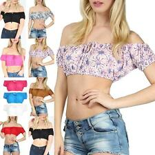 Womens Ladies Ruched Bardot Off Shoulder Knot Front Bralet Bandeau Cropped Top