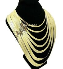 """Unisex Herringbone Chain 14k Gold Plated 4mm to14mm 8"""" 18"""" 20"""" 24"""" 30 Necklace"""