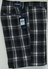 NEW Mens Chaps Lead Table Plaid Flat Front Casual Shorts MSRP $60 Faded Black