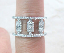 New Design - 925 STERLING SILVER 11mm WIDE Thick 2 row CZ Womens Ring Size M O R