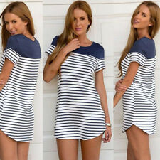 Hot Women Girls Cross Stripe Short Sleeve Loose Tops Blouse T-shirt Mini Dress