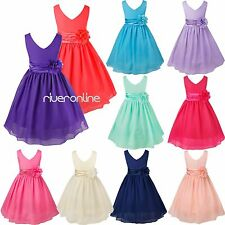 Chiffon Flower Girls Wedding Pageant Formal Bridesmaid Birthday Party Dress Gown
