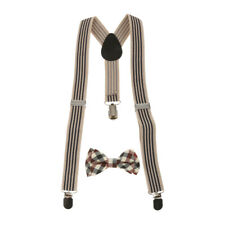Boy Girl Kid Clip-on Braces Elastic Universal Y-back Suspender Plaid Necktie Set