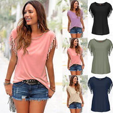 Stylish Women Girls Soild Casual Loose Tops Tassel Shirt Short Sleeve Top Blouse