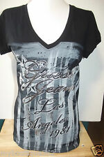 NEW WITH TAG GUESS JET BLACK TEE TOP WITH SILVER GRAPHIC PRINTS GUESS LOGO