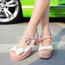 Women Lolita Bowknot Round Toe Ankle Strap Mary Jane Lace Chunky Heels Shoe Size