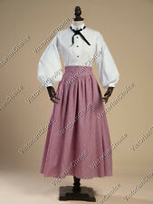 Victorian Downton Abbey Plaid Vintage Dress Theater Reenactment Clothing 314