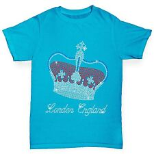 Twisted Envy Girl's London Crown Rhinestone Diamante T-Shirt