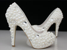 Womens Rhinestone Pearl High Heels Evening Party Wedding White Court Shoes Pumps