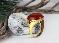 10k Gold Mens Ring Red Agate Yellow Gold Ring Natural Gemstone 5-14 US sizes