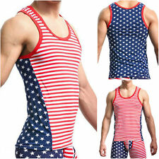 Cozy Mens Star Striped Gym fitness T-Shirts Tank Top Vest Sleeveless Undershirt