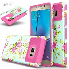 For Samsung Galaxy Note 7 Hybrid Hard Grid Armor Case Skin Flower Phone Cover