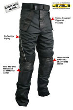 Xelement Men's Tri-Tex Fabric and Leather Motorcycle Racing Pants with Level-3 A
