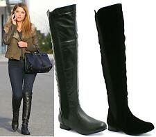 LADIES WOMENS WIDE CALF STRETCH OVER KNEE THIGH HIGH FLAT BOOTS SHOES SIZE 3-8