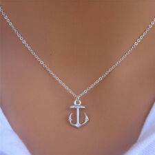 Fashion Silver Simple Anchor Charm Pendant Bib Chain Necklace Women Jewelry Gift