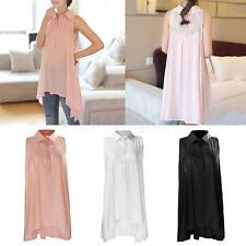 Women Collared Sleeveless Button Down Shirt Sexy Lace Summer Casual Blouse