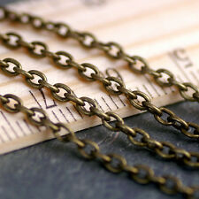 Antique Bronze Plated Cable Chains Link necklace 3x2.1mm c213 20ft PICK