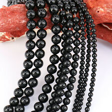 Lots 1Bunch Glossy Black Agate Round Loose Bead Charm Pendant Necklace Jewelry