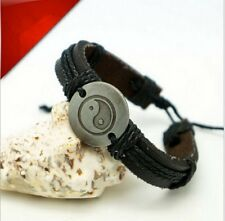 Vintage Hemp Weave Chinese YinYang Men Women Wrap Leather Wrist Bangle Bracelet