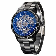 IK Colouring Skeleton Stainless Steel Men Transparent Automatic Mechanical Watch