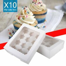10X 6/12 Holes Cupcake Boxes With Window Removable Inserts Cake Gift Box White