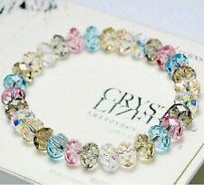 Fashion Woman's Faceted Loose Crystal Beads Jewelry Bracelet Stretch Bangle Gift