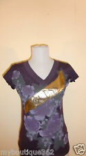 NEW WITH TAG GUESS PURPLE V NECK  FLORAL TEE TOP LQQK