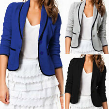 Womens OL Slim Tunic Lapel Button Blazer Jacket Leisure Suit Tops Office Outwear