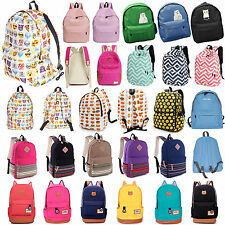 Womens Mens Backpack Canvas Rucksack Handbag Travel Satchel School Shoulder Bag