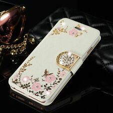 Luxury Magnetic Diamond Flower Flip Card Wallet Cover Case For iPhone/Samsung