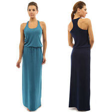Casual Women Beach Sleeveless Belt Slim Dress Cocktail Party Long Maxi Sundress