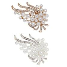 Fashion Wedding Bridal Jewelry Gold Silver Crystal Rhinestone Pearl Brooch Pin