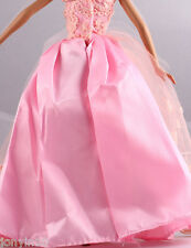 Fashion Handmade Barbie Party Pink Clothes/Dress/Skirt/Gown For Barbie Doll 089