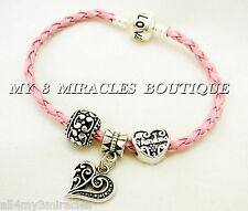 GRANDMA Pink Braid Leather CHARM BRACELET European Style Love Mother's Day Gift