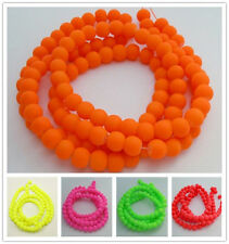 1strand DIY Jewelry Findings Matte Rubber Neon Round Glass Beads 4mm/8mm/10mm