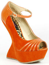 Orange Faux Suede Peep Toe Ankle Strap Mary Jane Curved Platform Wedge Dollhouse