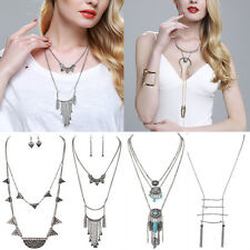 Fashion Boho Punk Retro Gold/Silver Tassel Turquoise Long Chain Pendant Necklace