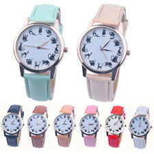 Vogue Causal Lovely Kitten Watch Girl's Leather Band Analog Quartz Wrist Watches