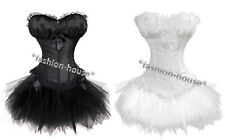 New Sexy Satin Padded Bra Boned Lace Up Corset Bustier Top+Skirt+G-String--88998