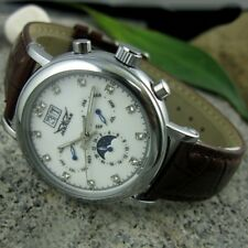 Luxury Men Watches Automatic Mechanical Moon Phase Date Brown Leather Wristwatch