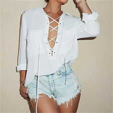 Womens Chiffon Shirt Deep V Neck Front Lace Up Long Sleeve Chiffon Blouse Tops