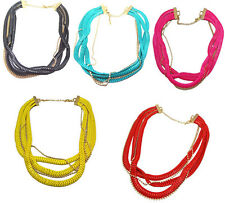Multi Strands Beads Chunky Snake Wide Chain Flat Curb Link Statement Necklace