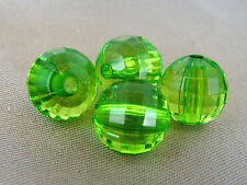 10mm 30/60/100/200/300pcs CLEAR FACETED GREEN ACRYLIC PLASTIC ROUND BEADS TY2294