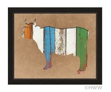Click Wall Art Colored Wood Textured Cow Framed Painting Print