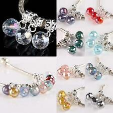 Faceted AB Crystal Glass 10mm Disco Ball Dangle Charm Beads Finding Fit Bracelet
