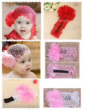 Baby Girl 6-24 Month Flower Lace Wide Headband Elastic Band Hairband Accessory