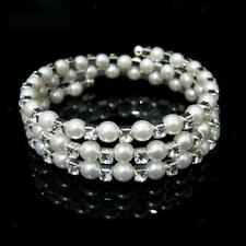 Wedding Bridal Pearl Crystal Rhinestone Rows Stretch Elastic Bangle Bracelet New