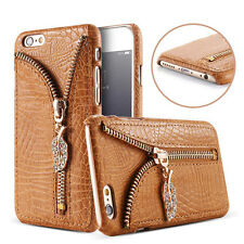 Luxury Leather Zipper Card Slot Back Cover Case For Samsung Galaxy/Apple iPhone