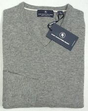 FLAW NWT $195 Hart Schaffner Marx 100% Cashmere V Neck Sweater Mens XL NEW Grey
