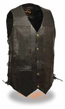 Mens Tall 10 Pocket Black Leather Biker Vest Side Laces & Gun Pockets
